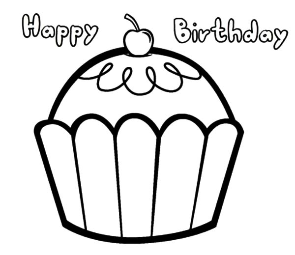 600x519 Happy Birthday Cupcakes Coloring Pages