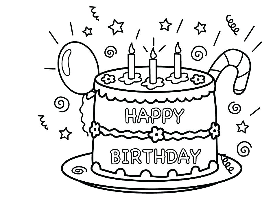 944x704 Cake Coloring Page Simple Birthday Cake Coloring Pages Image