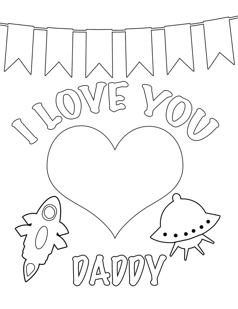 768x994 Greeting Card Happy Birthday Daddy Printable Coloring Pages