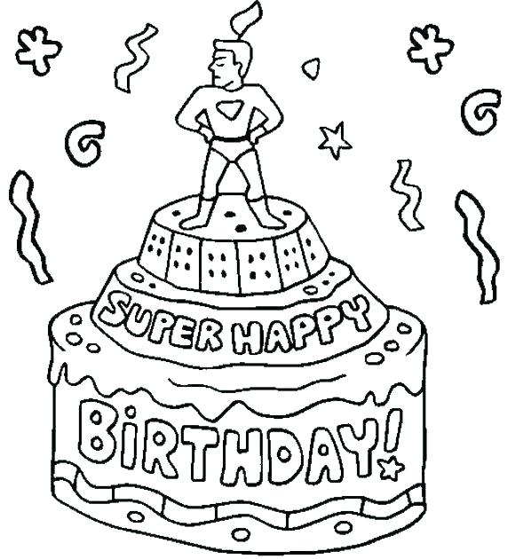 580x630 Birthday Cards Coloring Pages Happy Card Print Printable