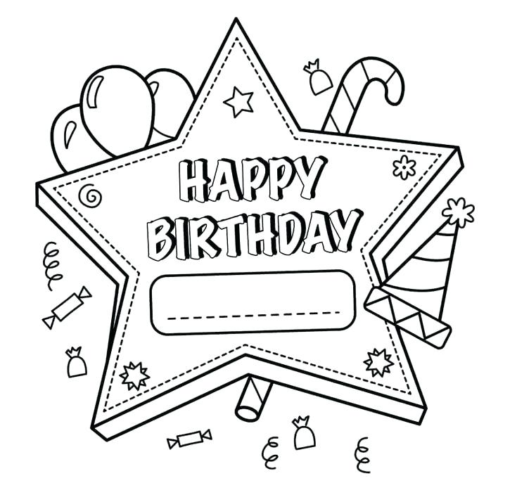 735x697 Printable Happy Birthday Coloring Pages Print Out Happy Birthday