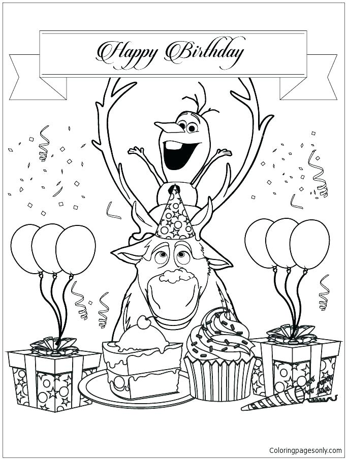 Happy Birthday Frozen Coloring Pages At GetDrawings Free Download