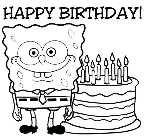 600x556 Happy Birthday Coloring Pages Free Printable Happy Birthday