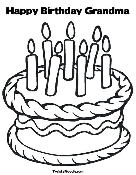 468x605 Happy Birthday Grandma Coloring Pages