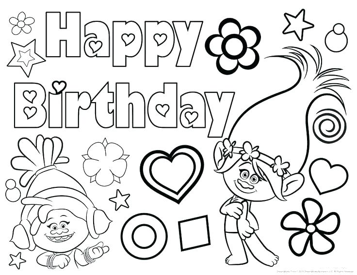 736x568 Awesome Printable Happy Birthday Coloring Pages Birthday Color