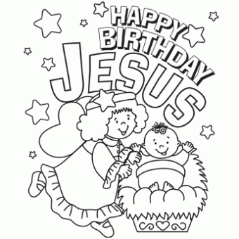 340x340 Happy Birthday Jesus Coloring Page