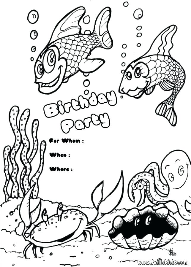 643x900 Birthday Coloring Pages Princess Birthday Party Invitation Fish