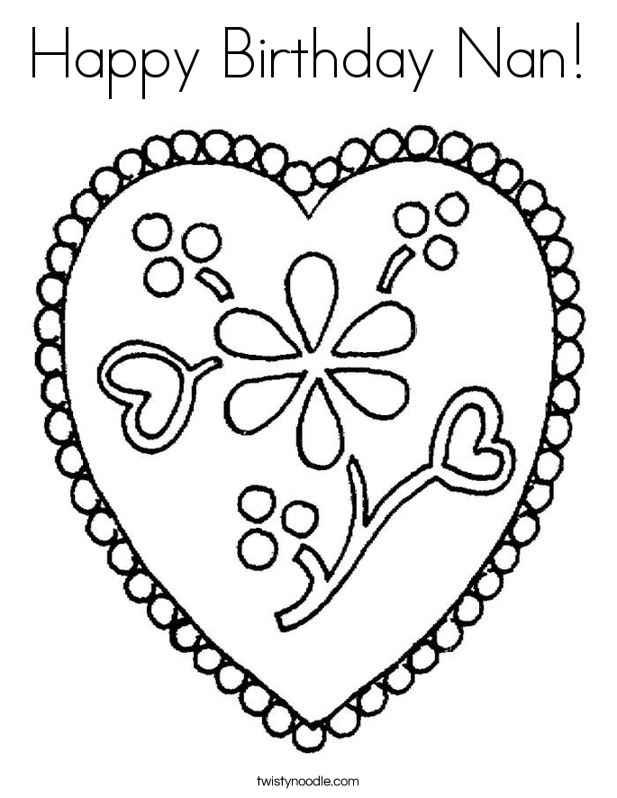 685x886 Happy Birthday Nan Coloring Page