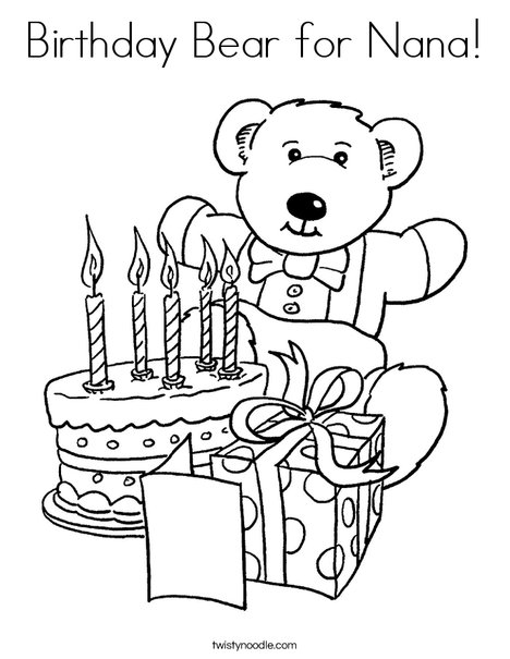 468x605 Birthday Bear For Nana Coloring Page