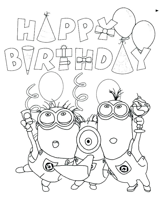 670x867 Birthday Coloring Cards Coloring Pages For Happy Birthday Happy