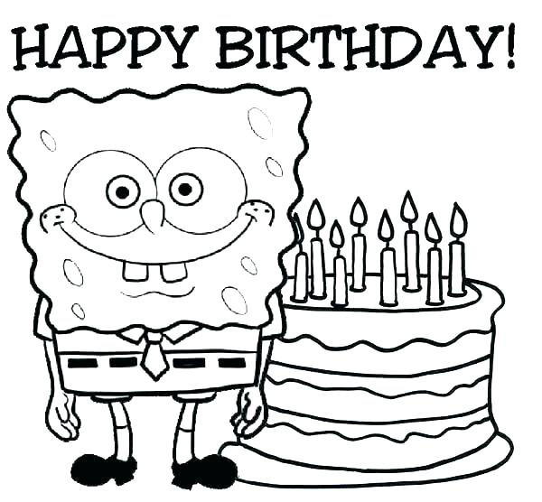 600x556 Coloring Pages Happy Birthday Birthday Cards Coloring Pages