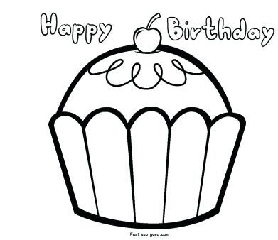 391x338 Coloring Pages Happy Birthday Happy Birthday Cupcake Coloring