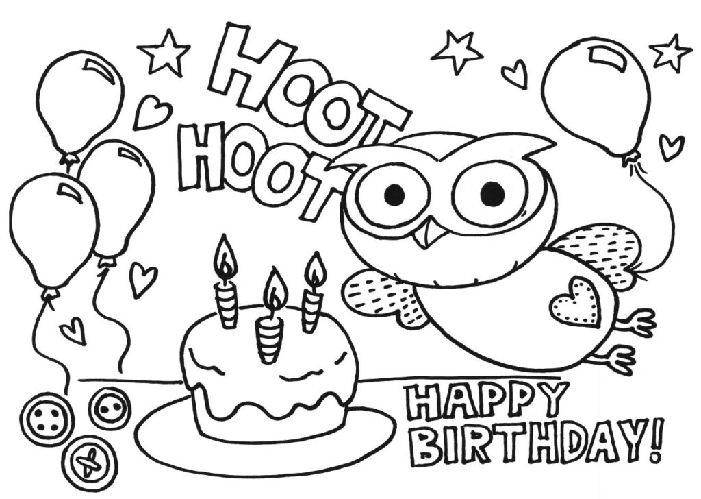 1024x728 Birthday Coloring Pages Printable Free Colors Happy Birthday