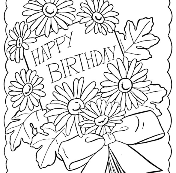 587x576 Happy Birthday Coloring Pages