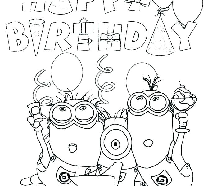 670x600 Free Printable Happy Birthday Coloring Pages