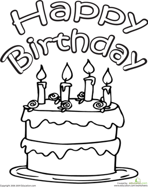 301x381 Color The Happy Birthday Cake Worksheet