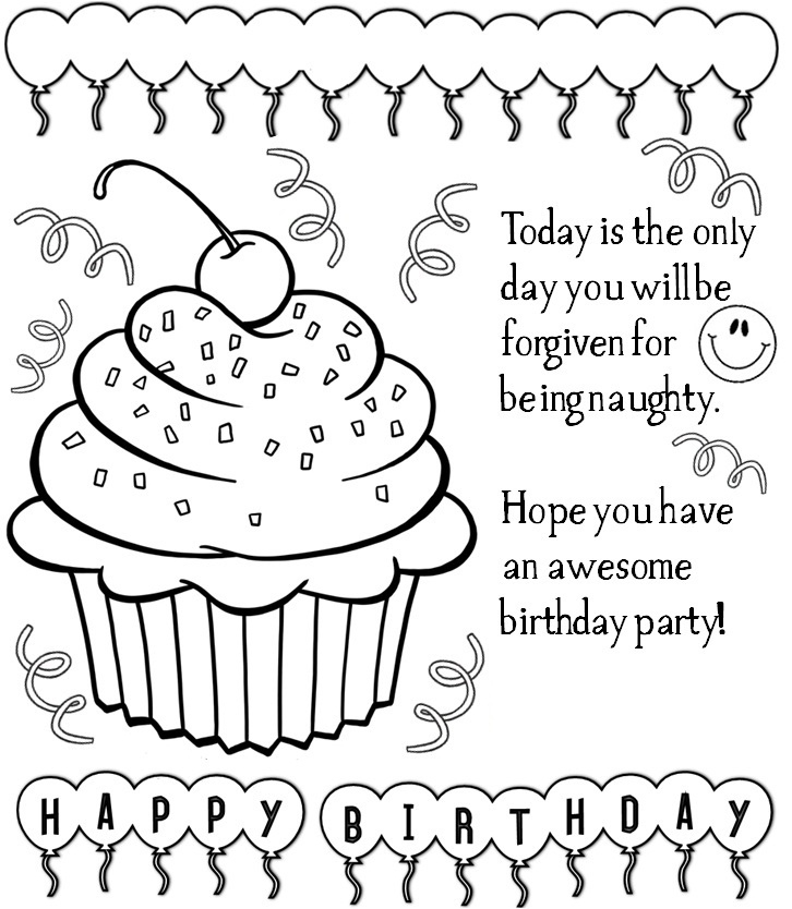 726x834 Coloring Pages For Birthday Cards Coloring Pages Birthday Cards