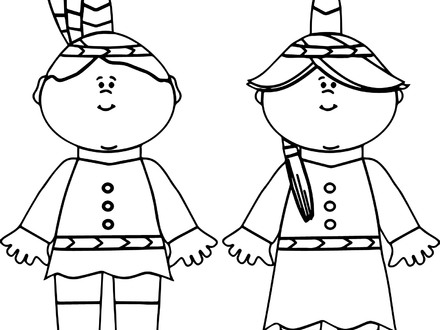 440x330 Pilgrim Boy And Girl Coloring Pages, Pilgrim Boy And Girl