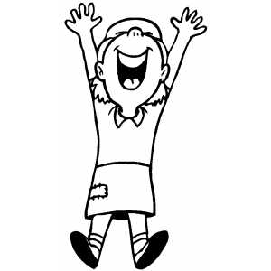 300x300 Jumping Happy Girl Coloring Page