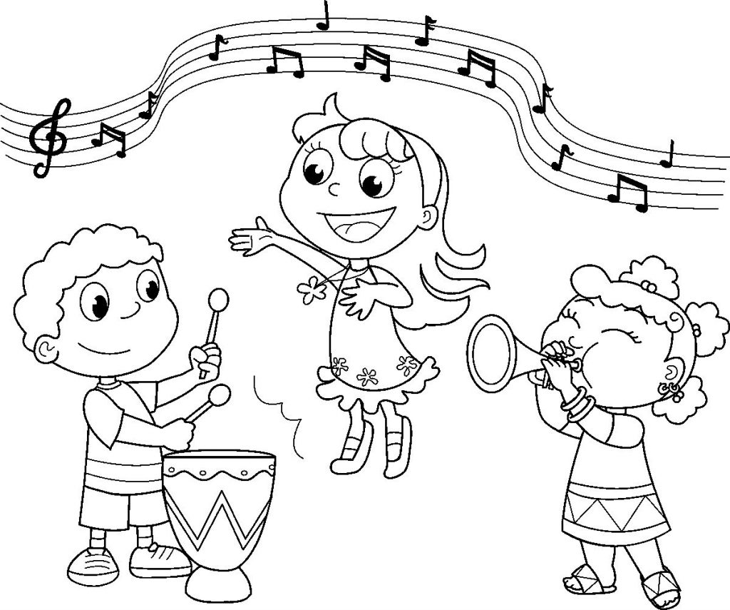 1024x855 Music Coloring Pages Free Printable Kids Preschool Instruments