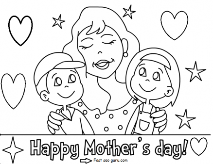 438x338 Printable Happy Mothers Day With Her Children Coloring Pages