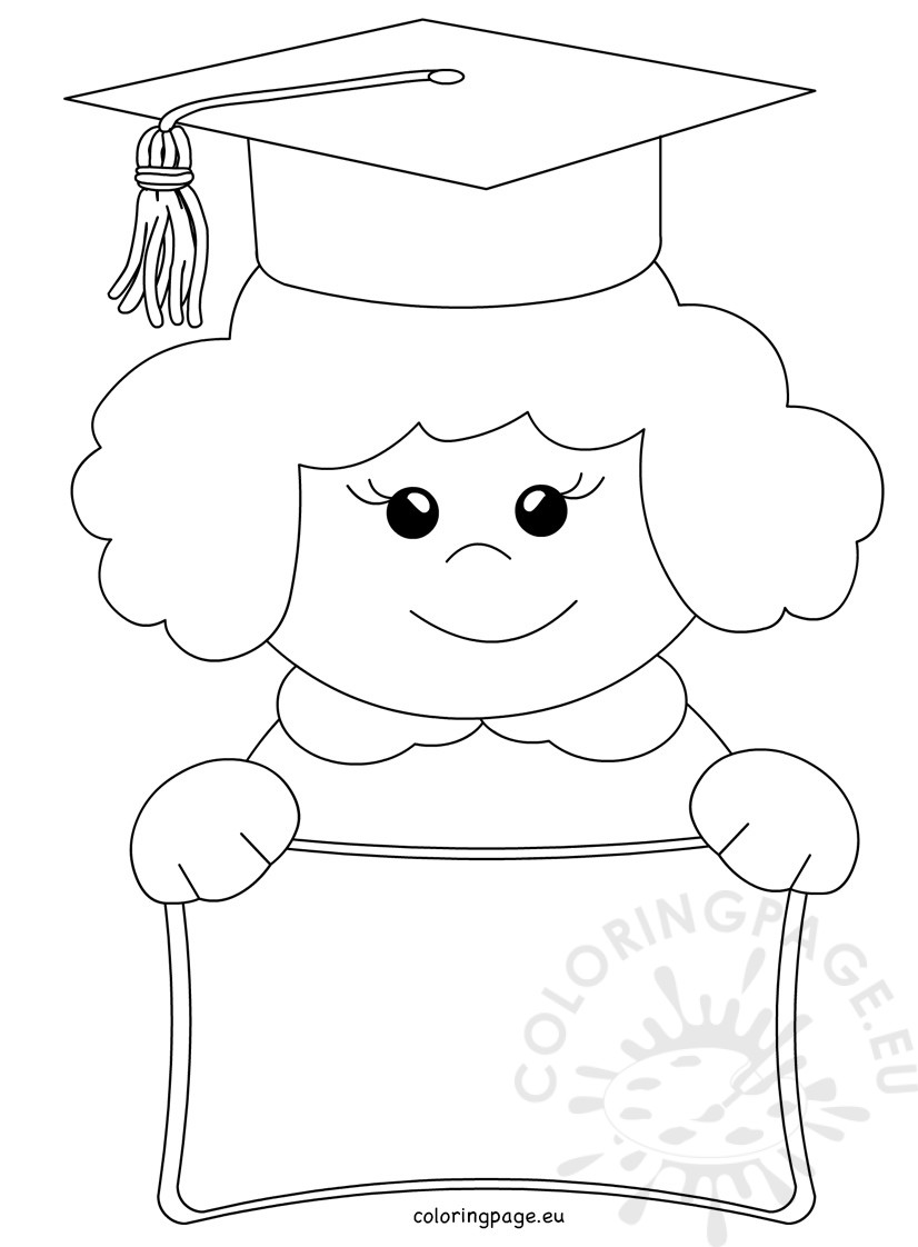 826x1122 Vector Cartoon Happy Child Graduate Coloring Page