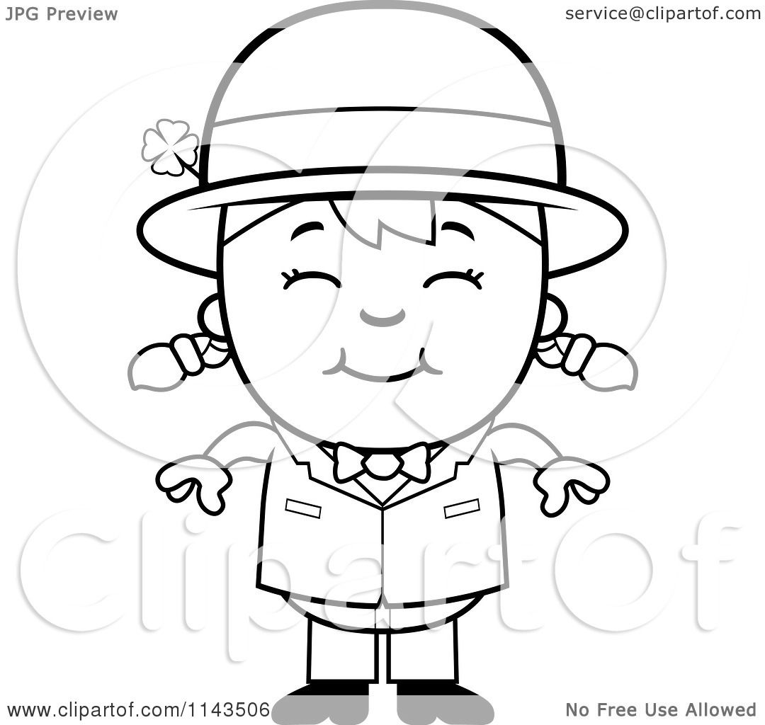1080x1024 Cartoon Clipart Of A Black And White Happy Child Leprechaun Girl