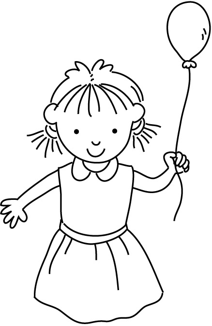 438x672 Happy Small Girl Holding A Single Balloon Coloring Page For Kids