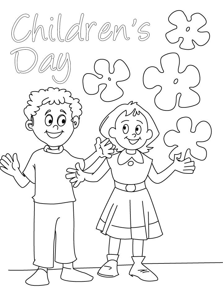 720x954 Children's Day Wishes Coloring Page Card Sufiya