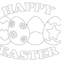 200x200 Happy Easter Coloring Pages, Bunny Cute Love Is All Around