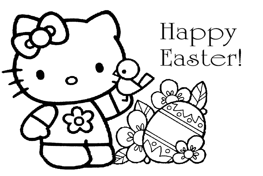 850x567 Printable Hello Kitty Easter Coloring Pages