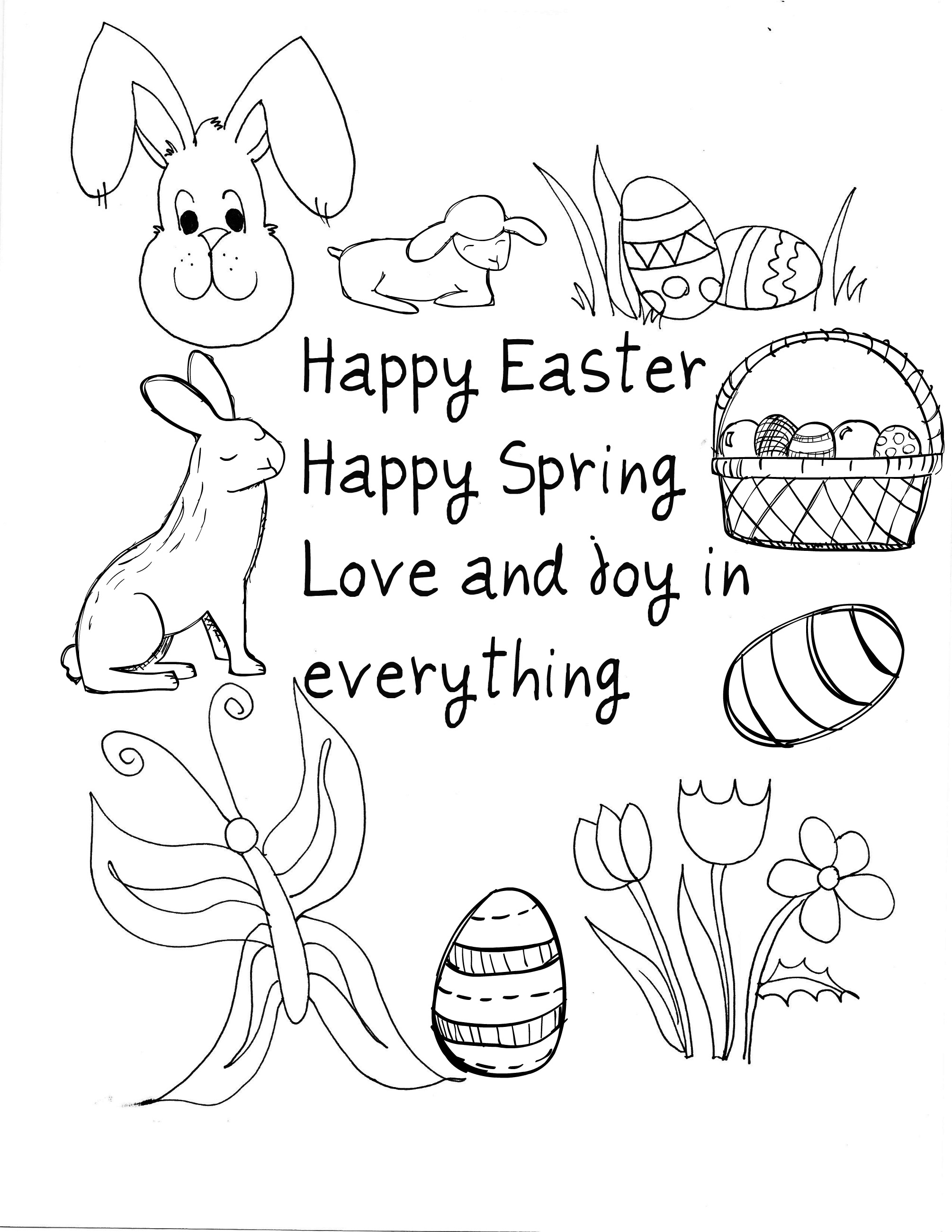 2010x2601 Happy Easter Coloring Pages