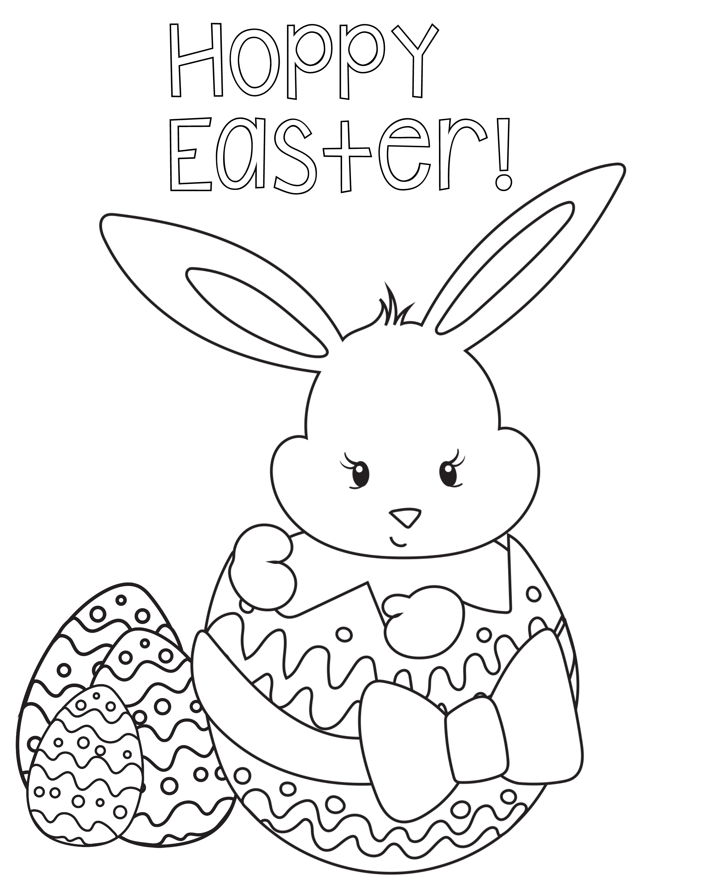 2400x3000 Printable Hilla Kitte Coloriing Hello Kitty Easter Coloring Page