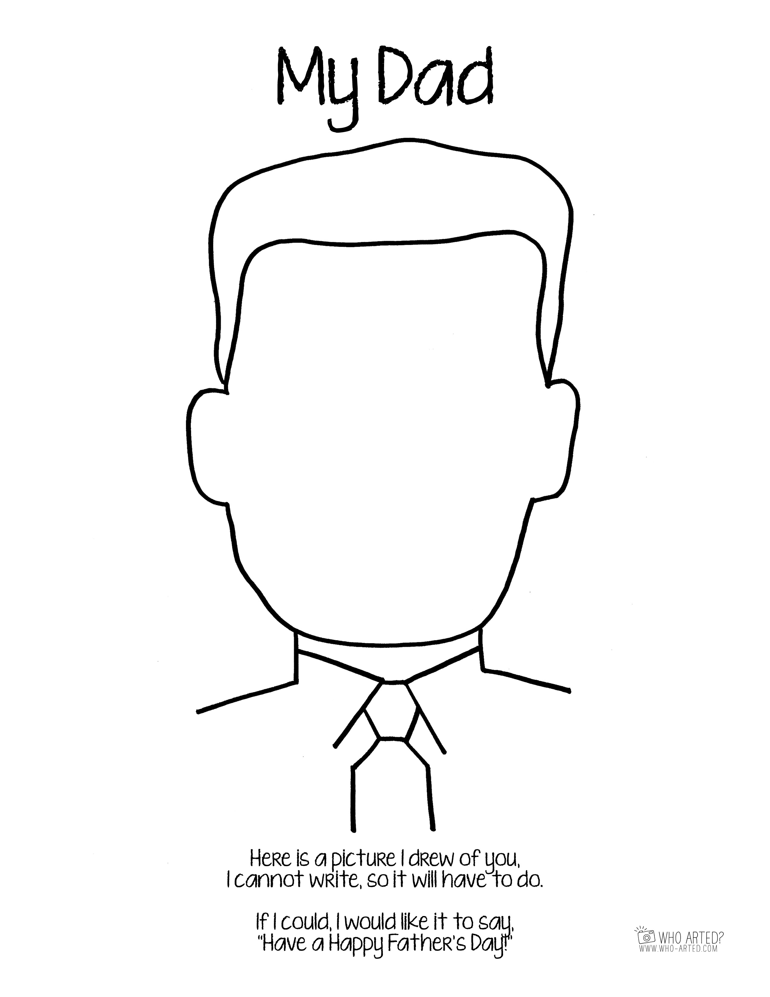 2550x3300 Fathers Day Coloring Page Dad Tie Who Arted Pages For Father S