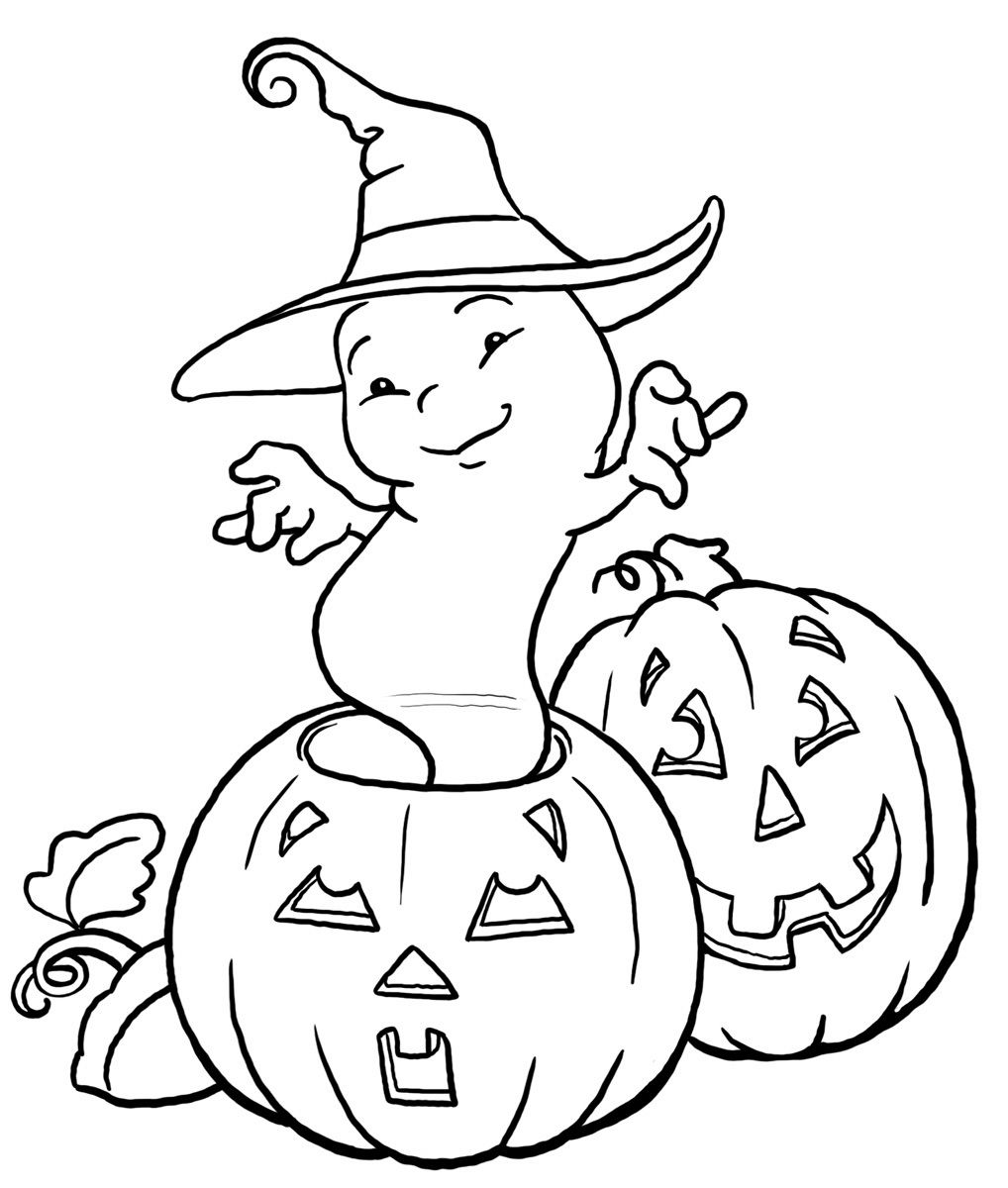 Happy Ghost Coloring Pages