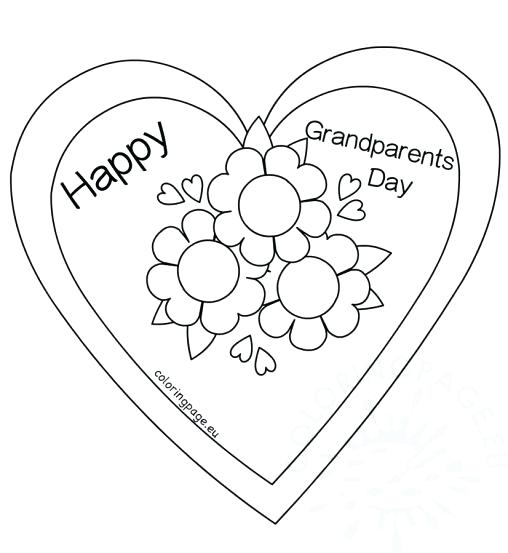 508x553 Grandparents Day Coloring Page Flower Heart Card Coloring Page