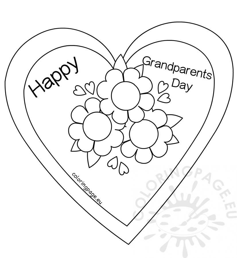 826x899 Flower Heart Card Coloring Page Happy Grandparents Day Coloring Page