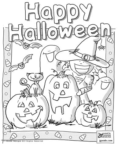 386x482 Halloween Scene Coloring Page
