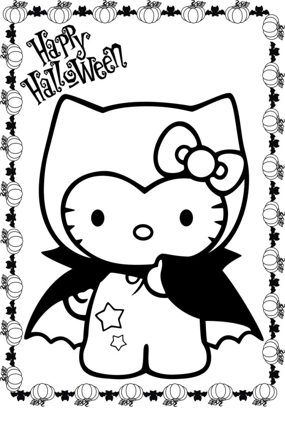 580x887 Hello Kitty Happy Halloween Coloring Pages Print Hallowen New