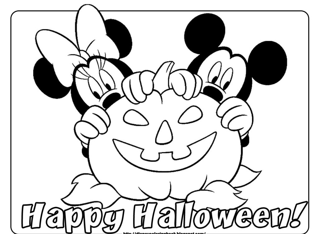 1024x752 Disney Halloween Coloring Pages With Pumpkin And Happy Halloween