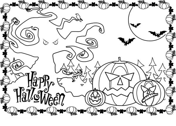 600x429 Happy Halloween Coloring Pictures Fun For Christmas