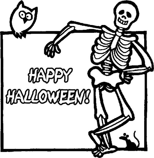 600x614 Joyful And Happy Halloween Day Says The Skeleton Coloring Page