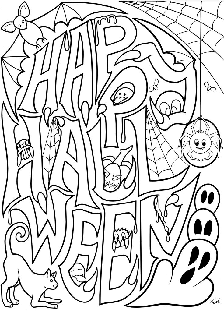 736x1021 Halloween Coloring Pages Adults Happy Halloween Coloring Pages