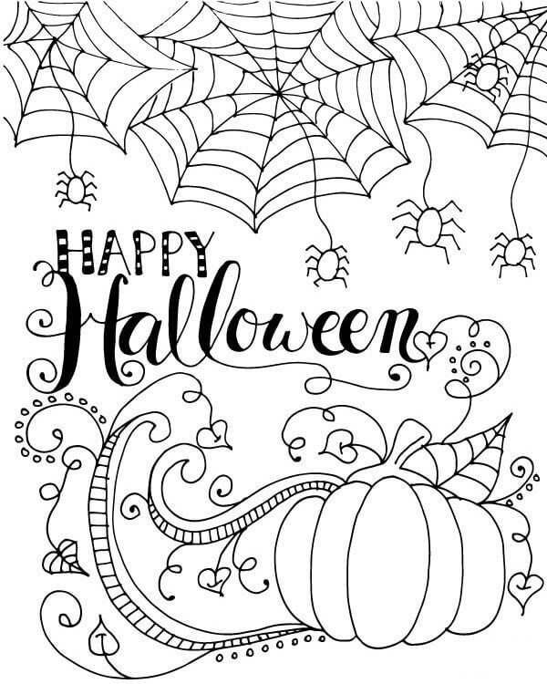 600x750 Happy Halloween Printable Coloring Pages Halloween Coloring Page