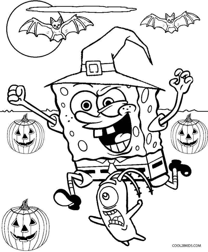 800x967 Happy Halloween Spongebob Spongebob Halloween Coloring Pages My
