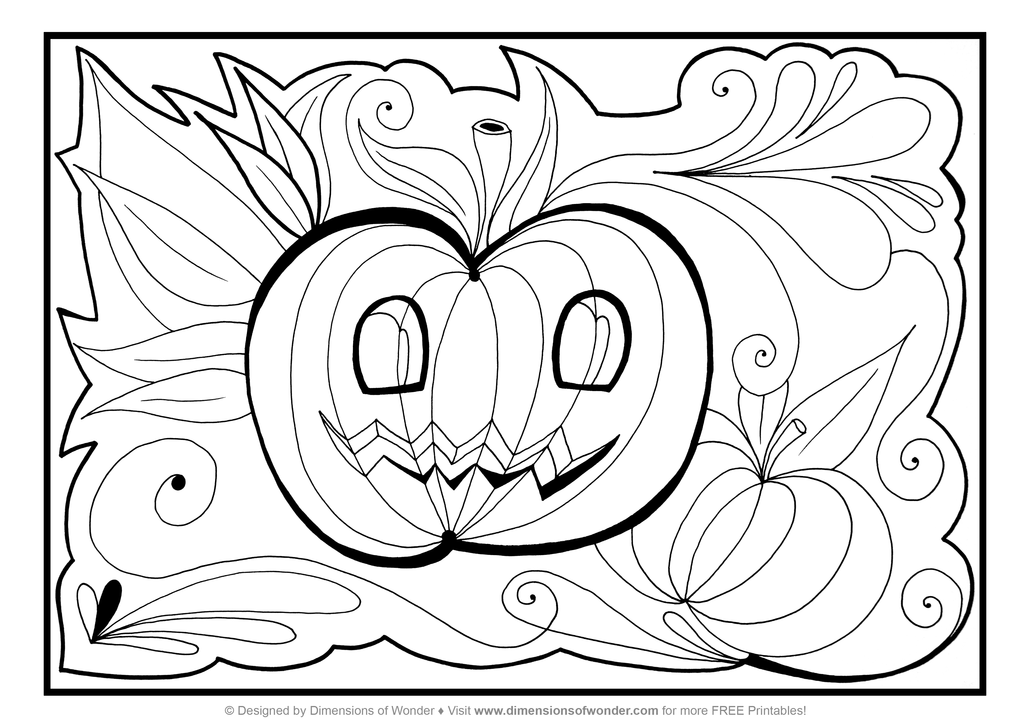 3508x2480 Happy Halloween And Pretty Witch Coloring Page For Kids Printable