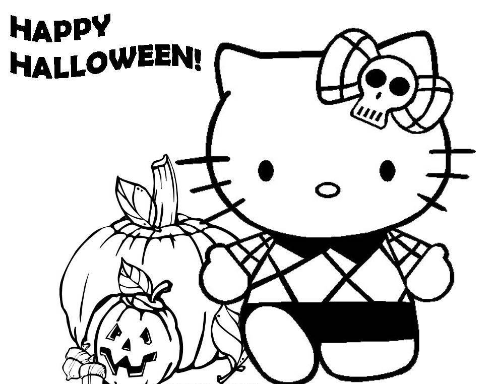 982x762 Hello Kitty Happy Halloween Coloring Pages