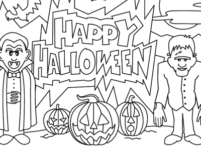 400x295 Best Happy Halloween Coloring Pages Free Printable