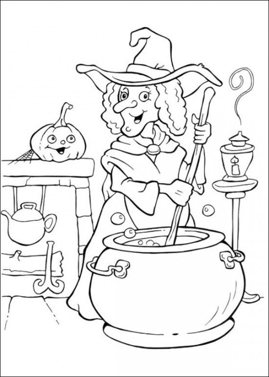 550x770 Classic Coloring Pages Of Witches Preschool In Fancy Witch Brewing