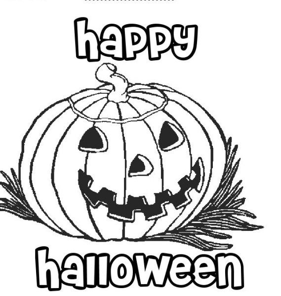 569x600 Happy Halloween Pumpkin Coloring Pages Printable Free Template